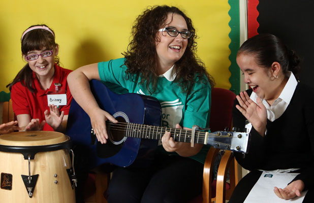 Andrea Begley, winner of the BBC series The Voice, yesterday visited a school for blind and partially sighted children to lead a music workshop with pupils. 7 October 2013