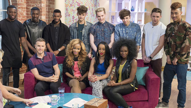 Gary Barlow with Miss Dynamix, Rough Copy and Kingsland Road on This Morning 8 Oct 2013