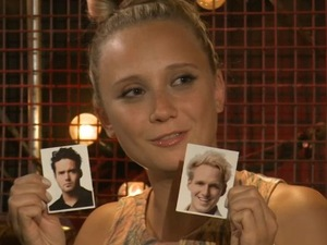 Mad On Chelsea (16 October). Show host Jenny Bede holds up face tattoos of Made In Chelsea's Spencer Matthews and Jamie Laing