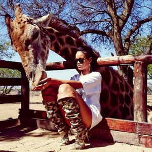 Rihanna pictured visiting the wildlife in South Africa