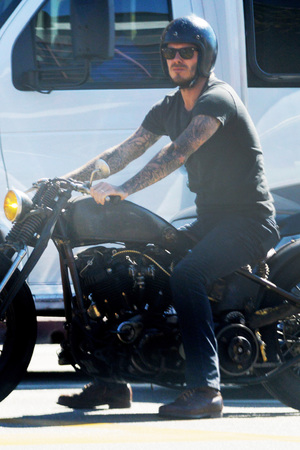 David Beckham Riding His Custom Motorcycle Person In Image:	David Beckham Credit :	WENN.com Date Created : 10/16/2013 Location : Los Angeles, United States
