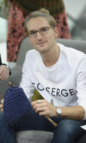 Oliver Proudlock from Made In Chelsea joined a Campaign for Wool knitting class to celebrate Wool Week