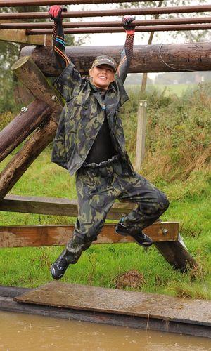 'Strictly Come Dancing' TV show filming, Adventure Race, Brentwood, Essex, Britain - 17 Oct 2013 Abigail Clancy saluting Aljaz Skorjanec 17 Oct 2013