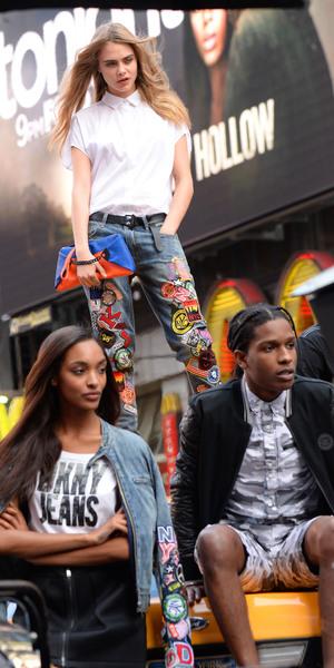 Cara Delevingne, Jourdan Dunn, A$AP Rocky - DKNY photoshoot, New York, America - 14 Oct 2013