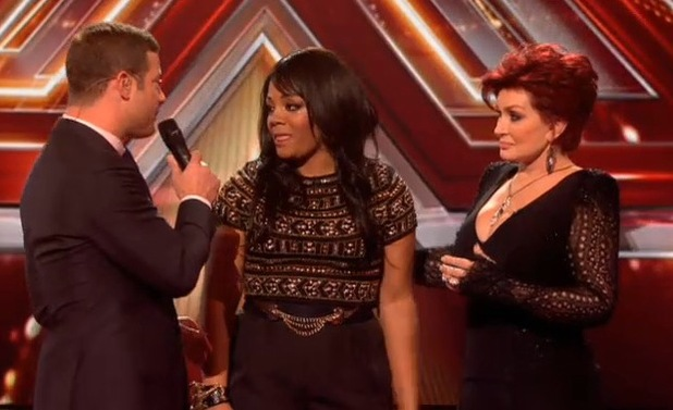 The X Factor (13 October) - results show. Dermot O'Leary, Sharon Osbourne and Lorna Simpson