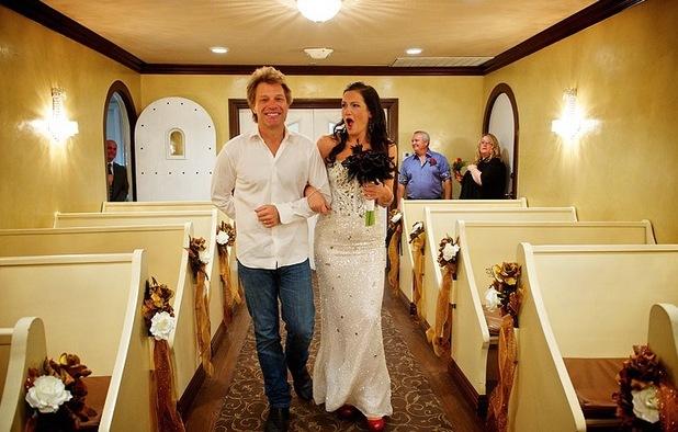 Bon Jovi walks bride