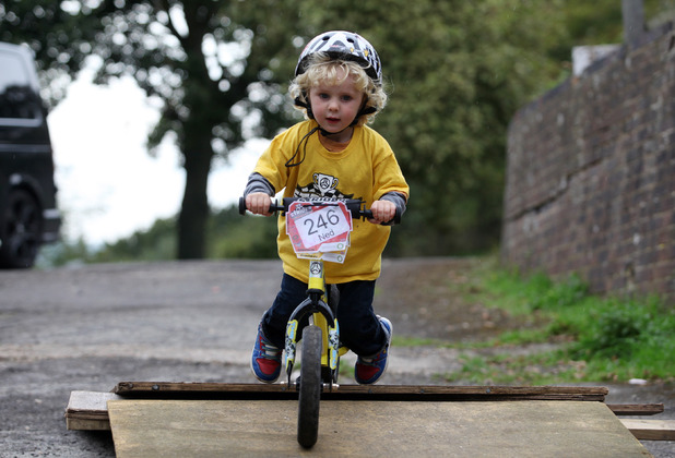 Two-year-old boy is Britain's youngest BMX champion, Selescombe, East Sussex, Britain - 03 Oct 2013 2-year-old Ned Jones practices his skills on a ramp at his house 3 Oct 2013