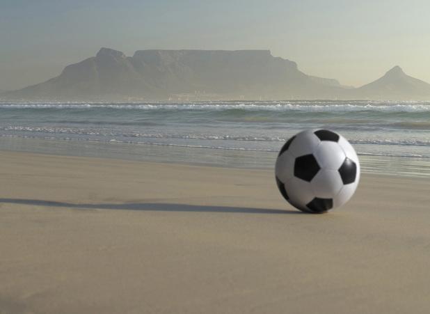 Africa, South Africa, Kapstadt, Soccer ball on beach 2000s