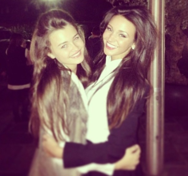 Michelle Keegan pictured with Mark Wright's younger sister Natalya Wright - 14 October 2013