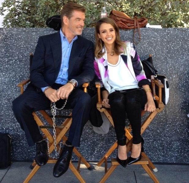 Jessica Alba and Pierce Brosnan on set of How To Make Love Like An Englishman - 15.10.2013