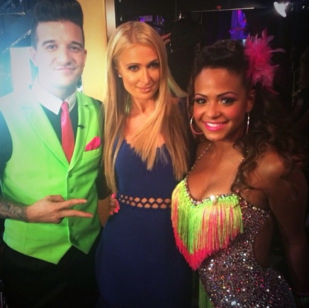 Paris Hilton with Christina Milian on Dancing With The Stars.
