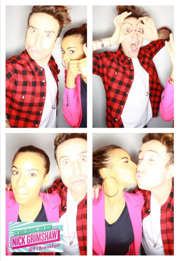 Rochelle Humes, Nick Grimshaw at BBC Radio 1 studios in London, 15 October 2013