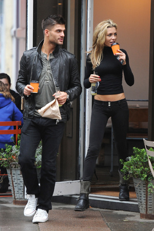 Abbey Clancy and her 'Strictly Come Dancing' dance partner Aljaz Skorjane park up in North London - 22.10.2013