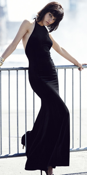 Rihanna for River Island Winter halterneck velvet maxi dress