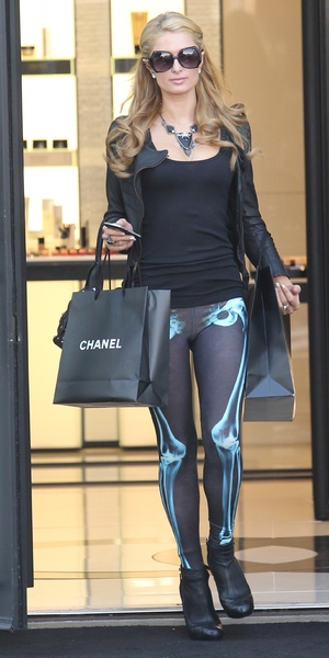 Paris Hilton leaving Chanel store in skeleton-style tights, October 26 2013