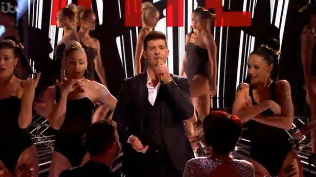Robin Thicke performing 'Blurred Lines' on The X Factor