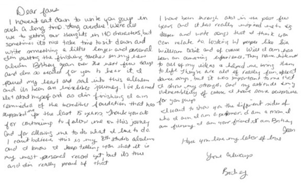 Britney Spears writes letter to fans ahead of Britney Jean release - 25 October 2013