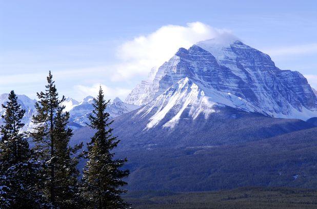 Scenic winter mountain landscape in Canadian Rockies 2010s