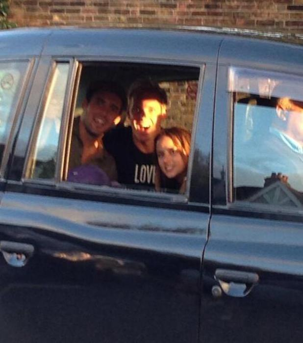 Made In Chelsea's Spencer Matthews, Jamie Laing and Lucy Watson in a taxi