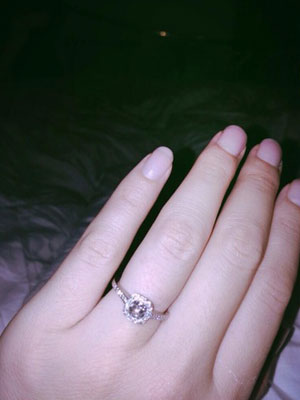 Ali Bastian engagement ring, October 2013