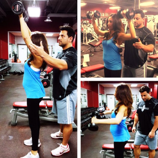 Pregnant Danielle Jonas works out at the gym, 24 October 2013