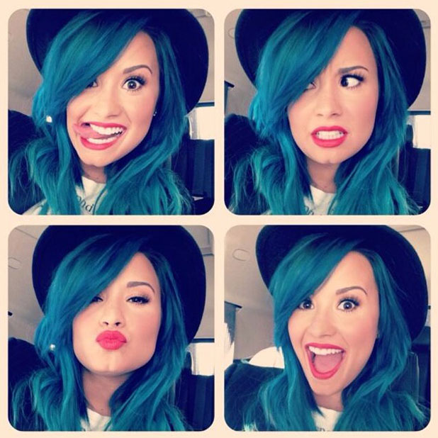 Demi Lovato tweets a picture of her blue hair, 24 October 2013