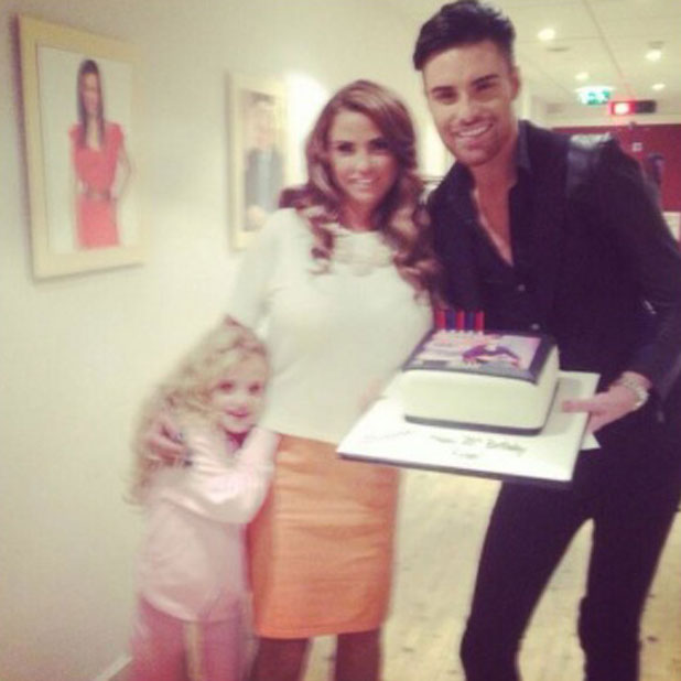 Katie Price presents Rylan Clark with a 25th birthday cake on This Morning, 25 October 2013