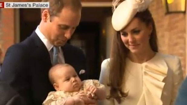 Kate Middleton and Prince William arrive with Prince George for his christening, 23 October 2013
