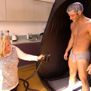 TOWIE episode preview - Wednesday 30 October 2013. Gemma Collins gives Elliott Wright a spay tan.