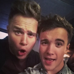 Olly Murs with X Factor contestant Sam Callahan during Olly's Football Night Out