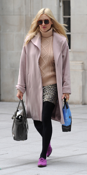 Fearne Cotton wearing a pink M&S coat outside the Radio 1 studios - London 19th September 2013