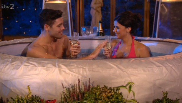 TOWIE's Lucy Mecklenburgh and Tom Pearce in a hot tub - 28 October 2013