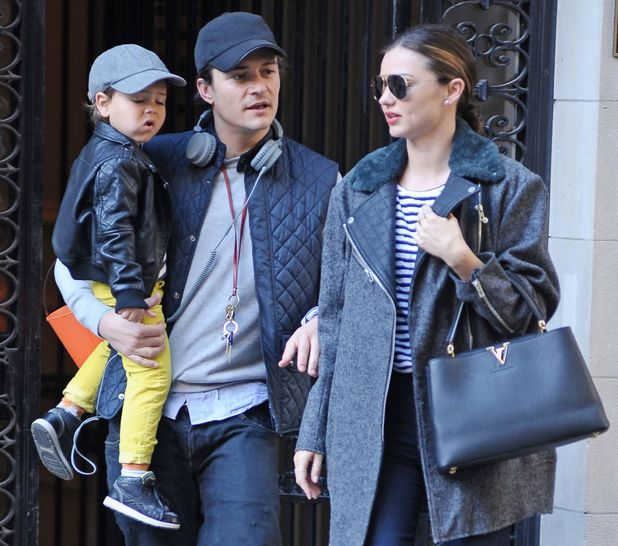 Miranda Kerr and Orlando Bloom with son Flynn out and about, New York, America - 28 Oct 2013