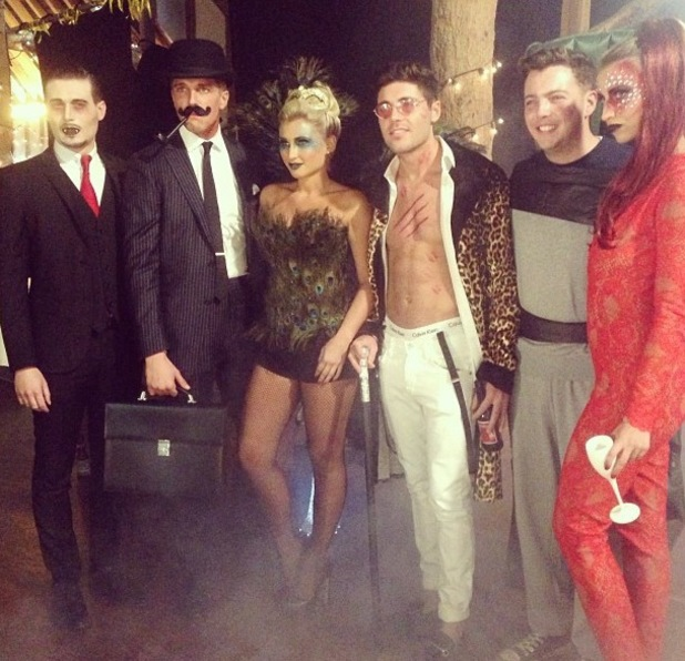 TOWIE cast dress up for Halloween: Mario Falcone, Charlie Sims, Tom Pearce, Billie Faiers, Ferne McCann, Jess Wright, Lucy Mecklenburgh 27.10.2013