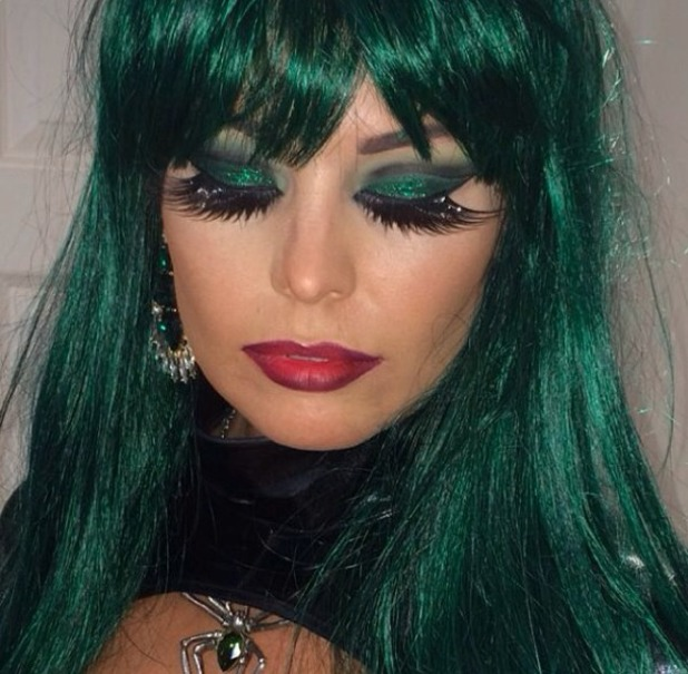 Jessica Wright shows off her Halloween make-up for TOWIE's Seven Deadly Sins Halloween party, 26 October 2013