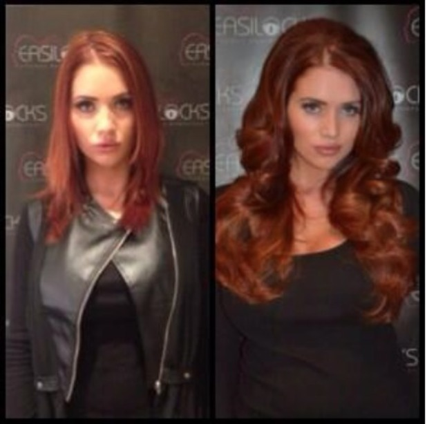 Amy Childs shows off her new long hair and colour created with Easilocks extensions, 29 October 2013