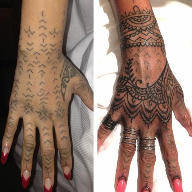 Rihanna's new henna-inspired hand tattoo by New York tattooists, Bang Bang. (30 October)