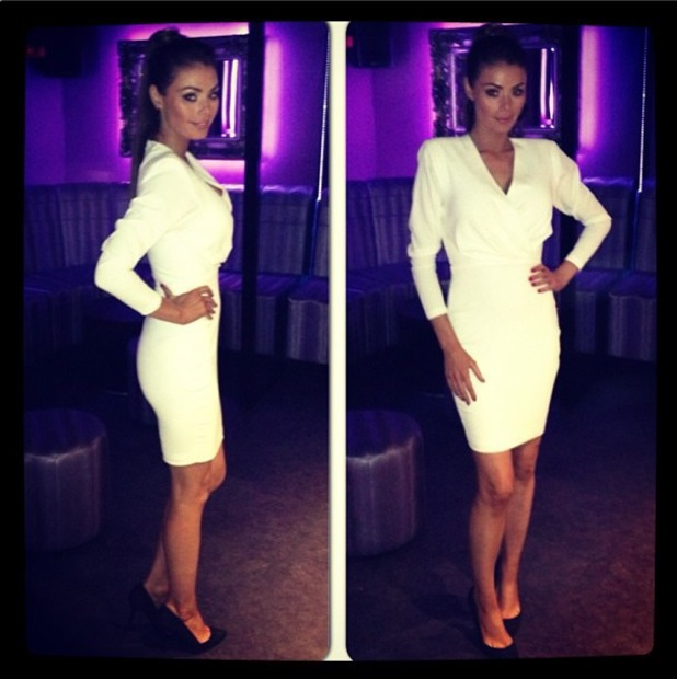 Chloe Sims shows off new white dress from AQ/AQ - 29 October 2013