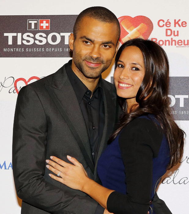 Tony Parker and his girlfriend Axelle Francine in France 26 Sep 2013