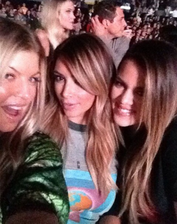 Fergie, Khloe and Kim Kardashian at Yeezus tour show in Los Angeles - 29.10.2013