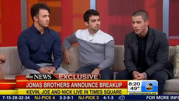 Nick, Kevin and Joe Jonas appear on Good Morning America to explain the Jonas Brothers split, 30 October 2013