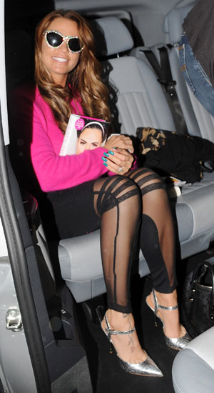 Katie Price leaving the BBC Radio 2 studios after promoting her new book 'Love, Lipstick and Lies' 26 October 2013
