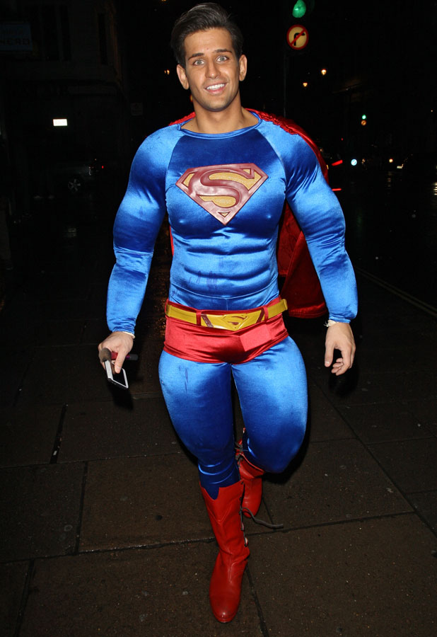 Ollie Locke arriving in fancy dress as Superman for a Halloween party at Mahiki, 31 October 2013