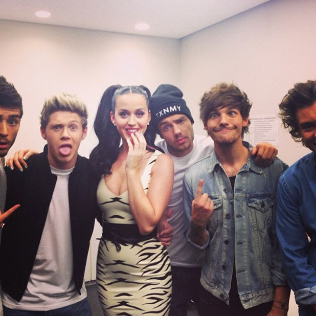 Niall Horan and Katy Perry share a cuddle after she accepts his joke marriage proposal in Tokyo, 1 November 2013