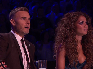 Gary Barlows reactions to Sam Callahan performing 'Relight My Fire' during Disco Night on 'The X Factor', Shown on ITV1 HD (2 November)
