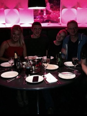 Helen Flanagan shares a snap of her family out for dinner in Manchester for sister Jessica's 21st, 6.11.13