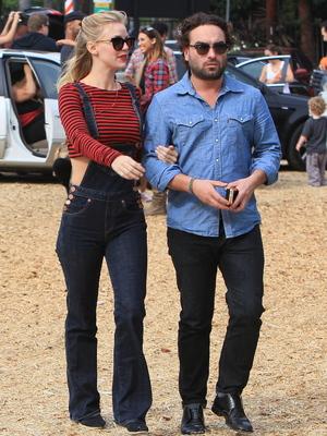Johnny Galecki and girlfriend Kelli Garner seen choosing pumpkins at Mr Bones Pumpkin Patch in West Hollywood, Oct 13