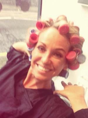 Josie Gibson's hair in curlers at Maximum FX Hair in Bristol, Nov 13