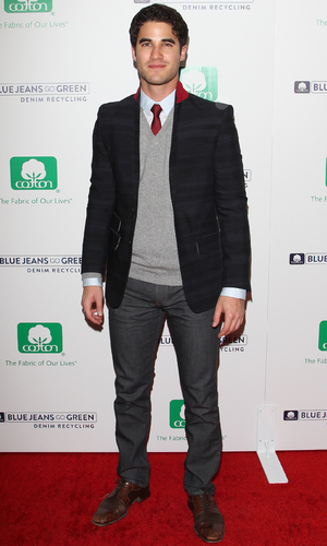 Darren Kriss attends Blue Jeans Go Green party at Skybar At Mondrian Hotel in West Hollywood, Nov 13.