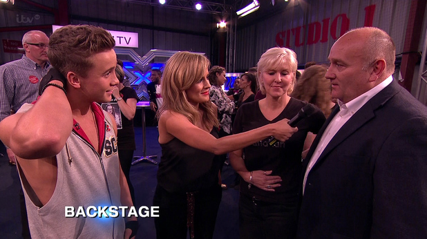 Caroline Flack talks backstage with Sam Callahan and his parents on 'The X Factor', Shown on ITV1 HD (2 November)